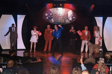 Jerry Hoban as Ed Sullivan, The Amazing Villams, Tom Sadge as Neil Diamond, Gailyn Addis as Liza Minelli, Bob Moore and his Amazing Mutts, and Bob's sister, Rosie