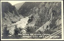 380(b). Along the Fraser Canyon. Showing C.P.R and C.N.R Railways.